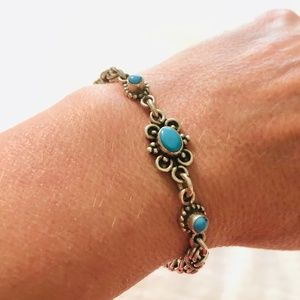 Artist-Made Silver and Turquoise Bracelet